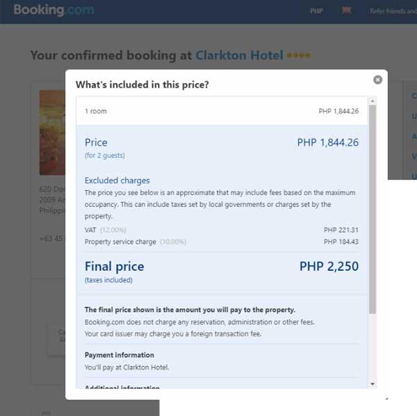 booking. com exclusive vat